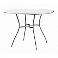 Balcon Table Base - black  - with Ceramic Top Oval  100 x 70  white